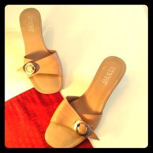 Franco Sarto Leather Buckle Slide Sandals Size 7